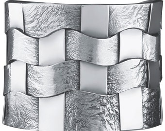 Bangle, Woven Hatch Design, Sterling Silver