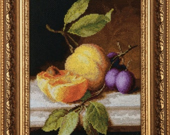 Still Life with Peach. Kit for Cross Stitch Embroidery