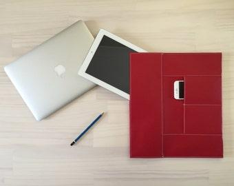 Red Laptop Case, Macbook Pro Case, Macbook Air Case, Stylish Laptop Case, Sleeve, Case, Vegan, Faux Leather, Stylish Laptop Case, Handmade