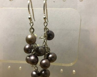 Lavender freshwater pearl earrings