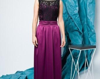 Black long dress / Prom dress / Wedding Dress / Bridesmaid Dress / Black maxi dress / Halter dress  / Guipure Satin Dress floor