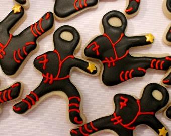 Ninja Star Design Sugar Cookies - Karate - Taekwondo - Martial Arts - Anime - Kung Fu - Comic con - Birthday Party Favors - 1 Dozen!