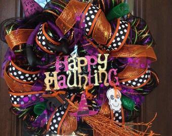 Haunted Halloween Wreath, Orange wreath