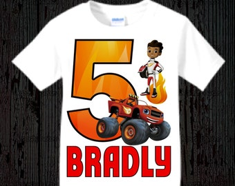 Blaze and the Monster Truck Birthday Shirt - Style Options Available