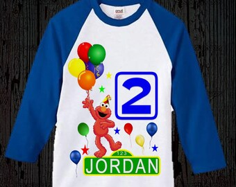 Elmo Birthday Shirt - Raglan Styles Available