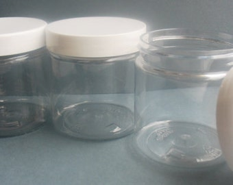 4 Oz. Size Clear Plastic Jar With White Screw On Lid   Plastic Containers    Storage   Cosmetic Jar   Empty   Cream Jar   Paint Jar