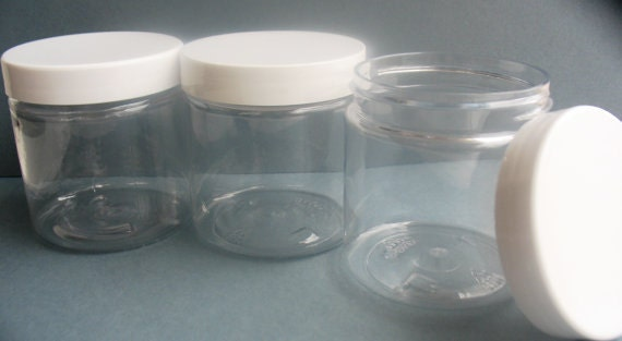 4 oz size Clear Plastic Jar with White Screw On Lid Plastic