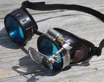 STEAMPUNK GOGGLES, Black with Blue Lenses, Copper Accents and Magnifying Loupes, Great for Halloween, Cosplay Costume or Birthday Gift