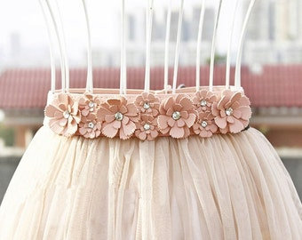 Elastic Belt, Flower girl belt, Rhinestone Belt, flower belt, faux leather belt, Girls belt, Cute belt, Accent Belt, Decorative Belt, Bridal