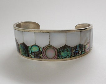 Abalone and mother of pearl bangle