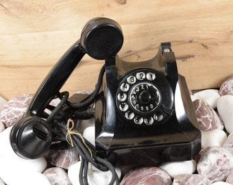 Wonderfull preserved rotary phone 1957s Dial phone made in Bulgaria 1958, Retro black phone bakelite black phone
