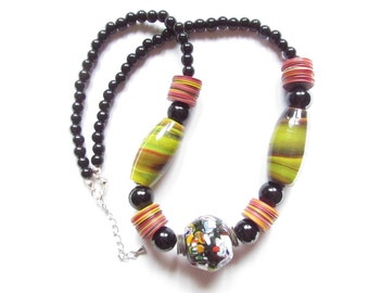 Ethnic necklace, African necklace, multicolor necklace, necklace beads ethnic jewelry @yendecreations