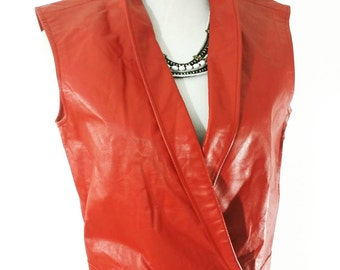 Vintage Vest Women's Leather Red Cropped L