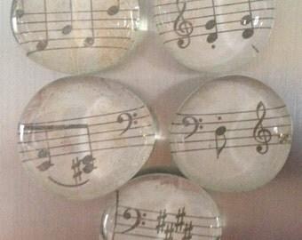 Music Sheet Refrigerator Magnets, Set of 5