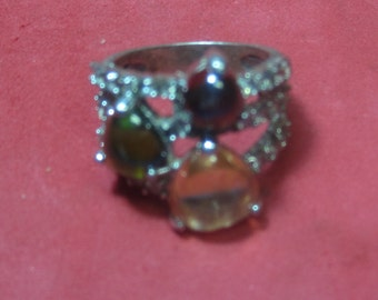 Vintage Sterling Silver Jeweled Ring
