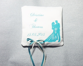 Ring pillow wedding couple petrol
