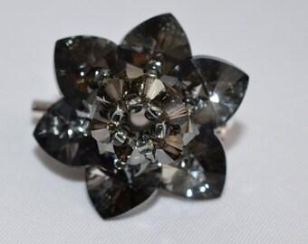 Crystal brooch night flower Swarovski crystal silver night