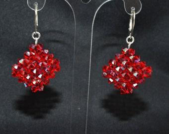 Earrings Swarovski diamond 925 light siam ab
