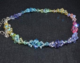 "Crystal Anklet Swarovski ""Arc-en-ciel"" multicolor"
