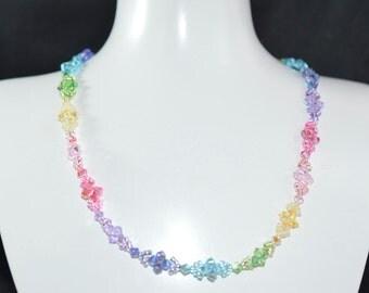 """Necklace """"Arc-en-ciel"""" multicolored Swarovski crystal"""