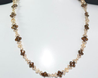 "Necklace ""Leaves"" Swarovski crystal crystal golden bronze shade and shadow 2x"