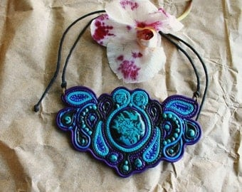 Psychedelic Necklace, blue boho accessories