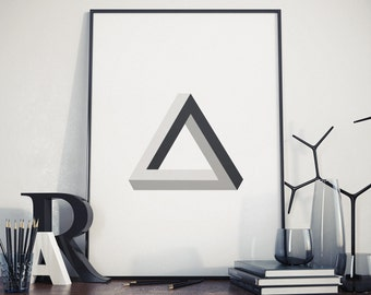 Penrose Triangle  Wall Art, Room Decor, Cube Poster, Cube Print, Geometric Print , Modern art print, Wall prints, Wall art