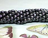 4mm Glass Beads, 50 Pcs. AQUA ORCHID POLYCHROME Czech Fire Polished Glass Beads