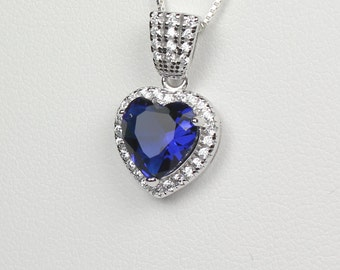 Blue Sapphire Sterling Silver Necklace / Sapphire Pendant with Diamond Accents