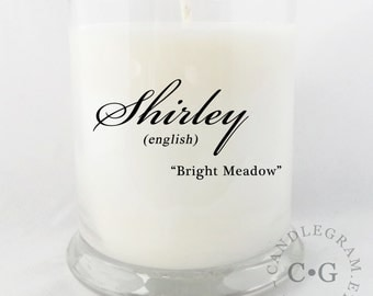 CandleGram 10oz. Soy Candle....Name Meaning or personal message