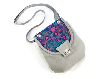 Liberty of London Paisley and Dolphin Grey Canvas Small Cross Body Bag