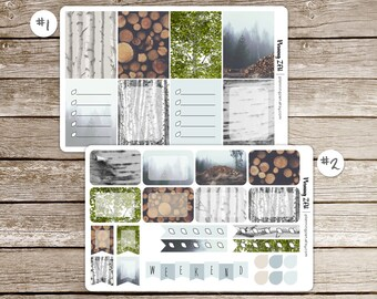 Birch Forest Vinyl Planner Stickers for use with EC Vertical Planners