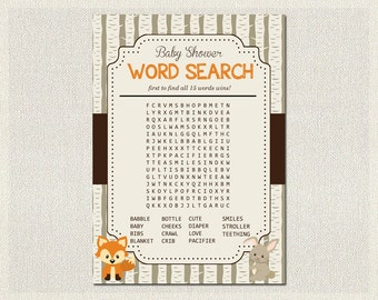 Woodland Baby Shower Boys / Girls Gender Neutral  - Word Search PDF Printable | Boy Baby Shower Games | Instant Download BS-3