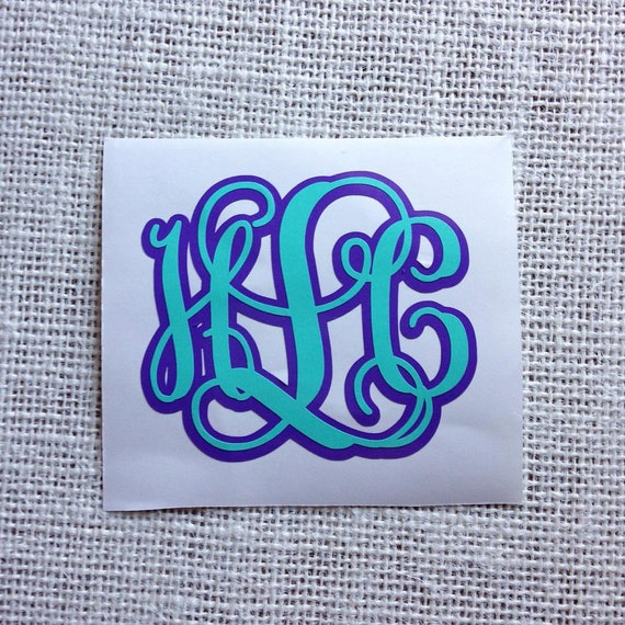 Double Layered Monogram Vine Font Monogram Monogram Sticker