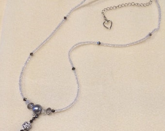 Glass Beaded Y Necklace