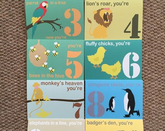 Age 1 - 10 birthday cards