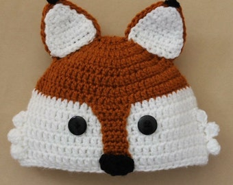 Crochet fox hat. All sizes and different styles available!
