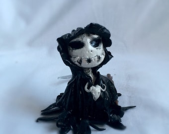Mr Death,ooak funny death clay sculptre, skeleton with scythe