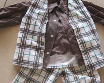 3T Brown and Green Plaid Vest Pants and Shirt