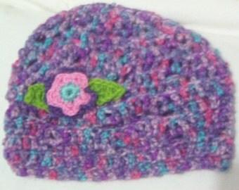 Hand crochet hat and fingerless gloves