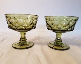 Vintage Green Glass Dessert Dishes