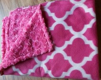 Pink fleece and minky blanket