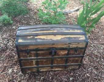 Saratoga Trunk, S&H Trunk, Barrel Top, Humpback, Camel Back, Farmhouse Decor, Rustic Decor, Storage Container, Chest