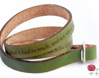 Leather Wrap Bracelet -- Thoreau Quote