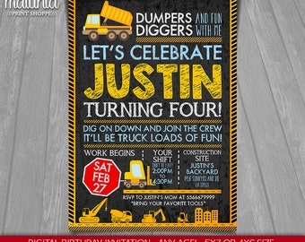 Construction Invitation - Construction Birthday Dump Truck Invitation - Digger Invitation - Construction Birthday Party - Dump Truck Party
