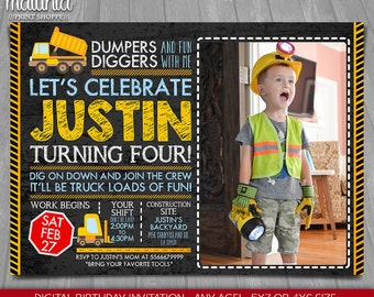 Construction Photo Invitation - Dump Truck Invitation - Construction Birthday Party - Dump Truck Party - Little Worker Invite