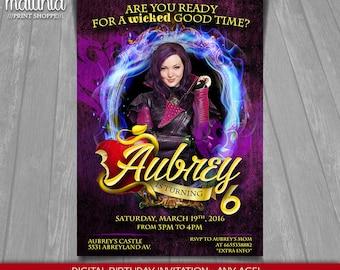 Disney Descendants Invitation - Descendants Invite - Mal Descendants Birthday Printed Invitation - Mal Descendants Birthday Party (DEIN04)