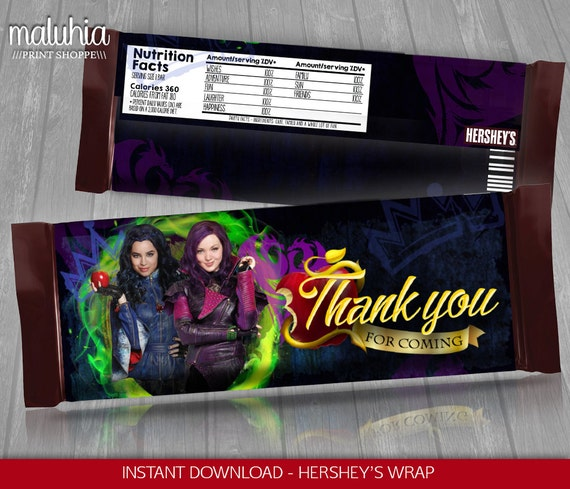 Disney Descendants Chocolate Bar Wrappers