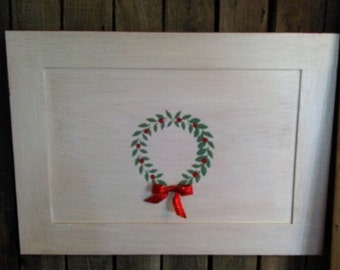Repurposed Cabinet Door wood sign- raised stencil wreath