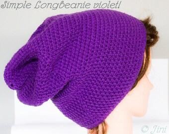 "Crocheted Langmütze/Beanie ""Violet"", 100% manual work"